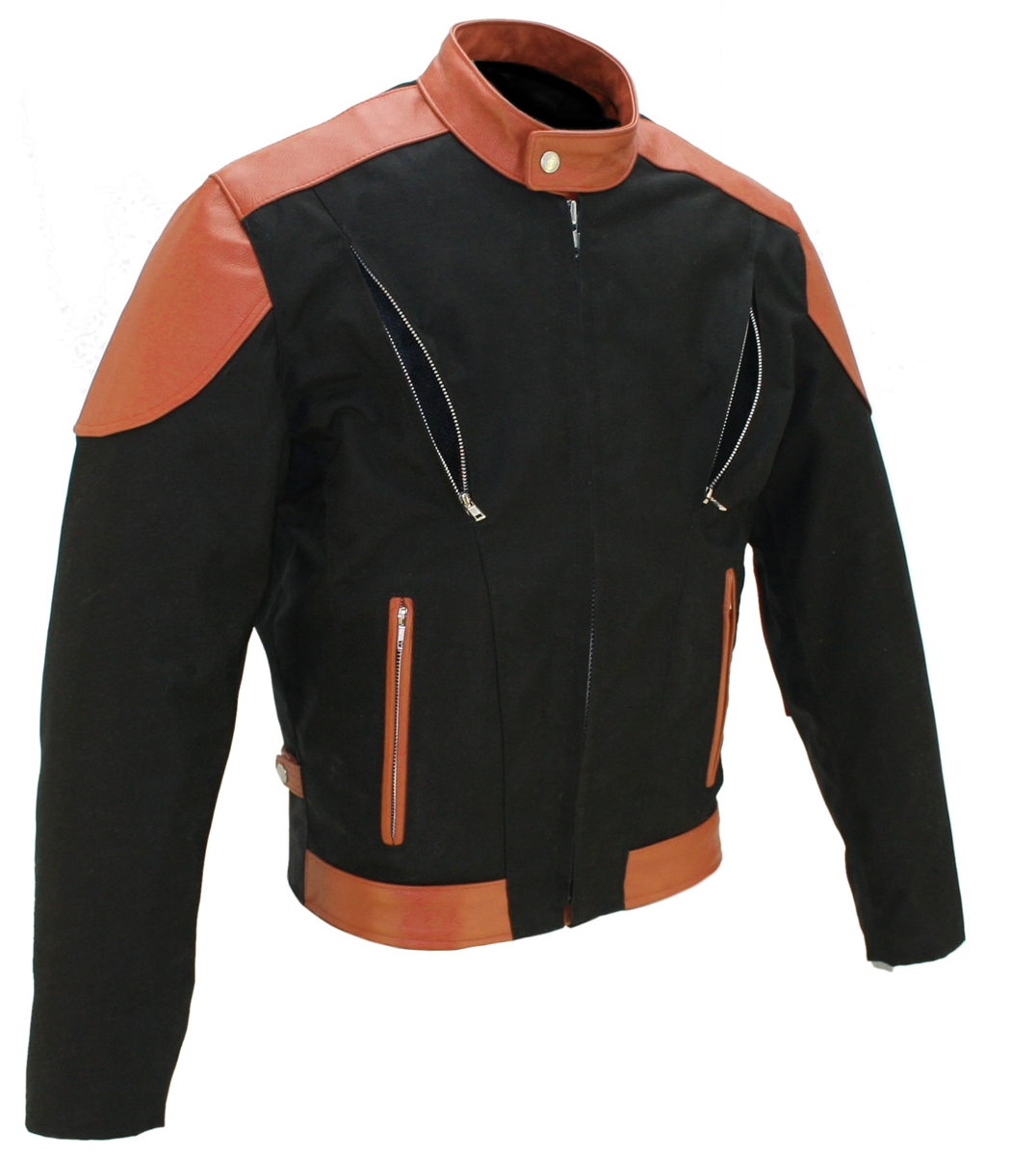 The Vented Leather & Cordura Jacket. This jacket is made of 1.2-1.4 soft premium cowhide and Denier Cordura 1000 (Heavy Duty Textile). front and rear vents with heavy mesh liner for full ventilation - Too big or too small - adjustable Sides, Too Hot - rem