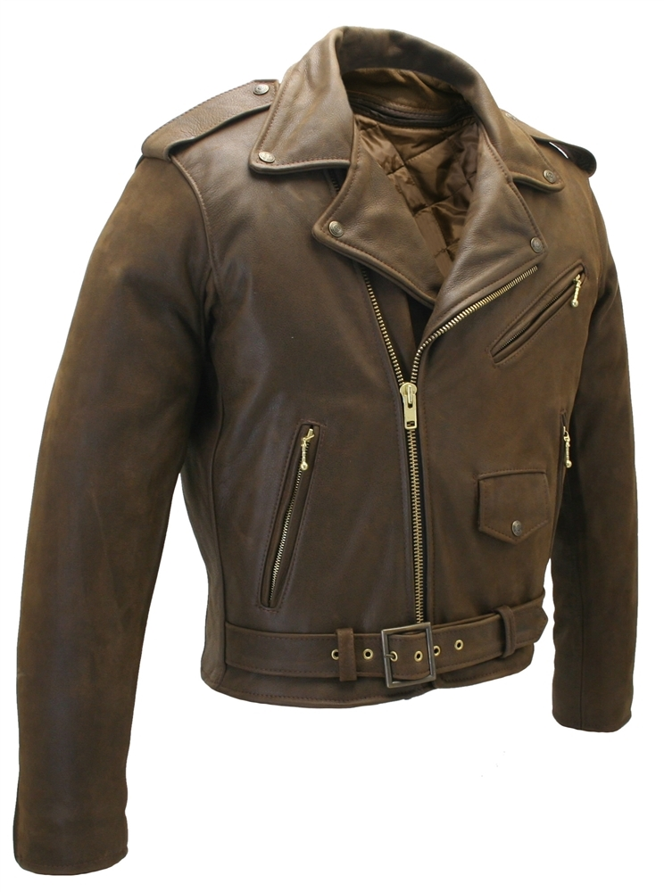 Men's Classic Vintage Motorcycle Leather Jacket. Made in USA ...