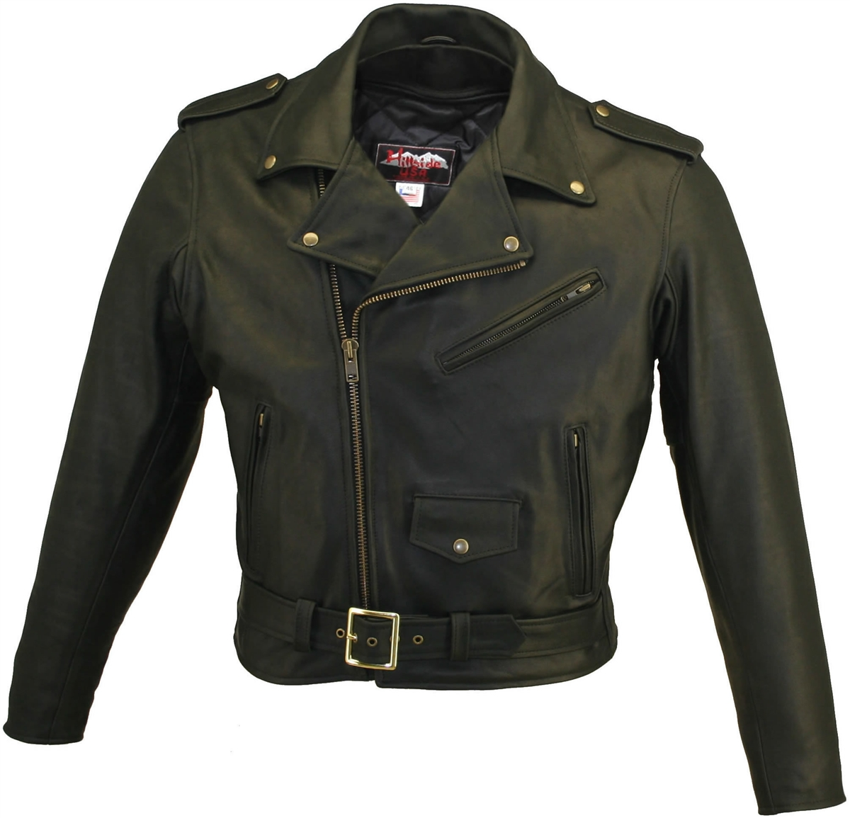 Men's Basic Biker Jacket. There is nothing basic about, it's outrageous style. This jacket is made of 1.6-1.8 mm (4-41/2 oz.) Soft, Supple, and Thick black Cowhide Naked Leather. Action back, zippered cuffs, and three leather lined outside zippered pocket