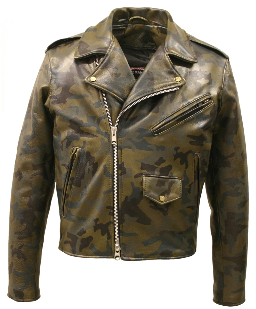 Hillside USA Camouflage All Leather Biker Jacket is a celebration of classic military attire. This crafted jacket is composed of a 1.2- 1.4 full grain cowhide camouflage Leather.  Putting camo on leather is no easy task, heat and pressure is used to liter