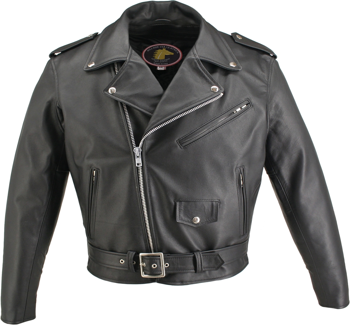 Men's Basic Motorcycle Horsehide Jacket. Beautiful, tough, stylish, practical, and elegant all in the Basic Motorcycle Horsehide Jacket. Our entire Horsehide collection feature YKK zippers, all leather lined pockets, two inside Leather Lined Gun Pockets,