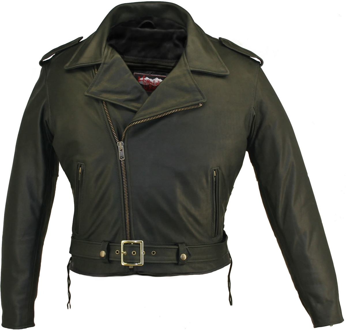Men's Full Belted Biker Jacket. No bells, no whistles, just top quality leather designed in the classic biker image. This Jacket is loaded with riding features starting with an unique 1.6-1.8 mm (4-4 1/2 oz.) soft, supple, and thick Cowhide Naked Leather