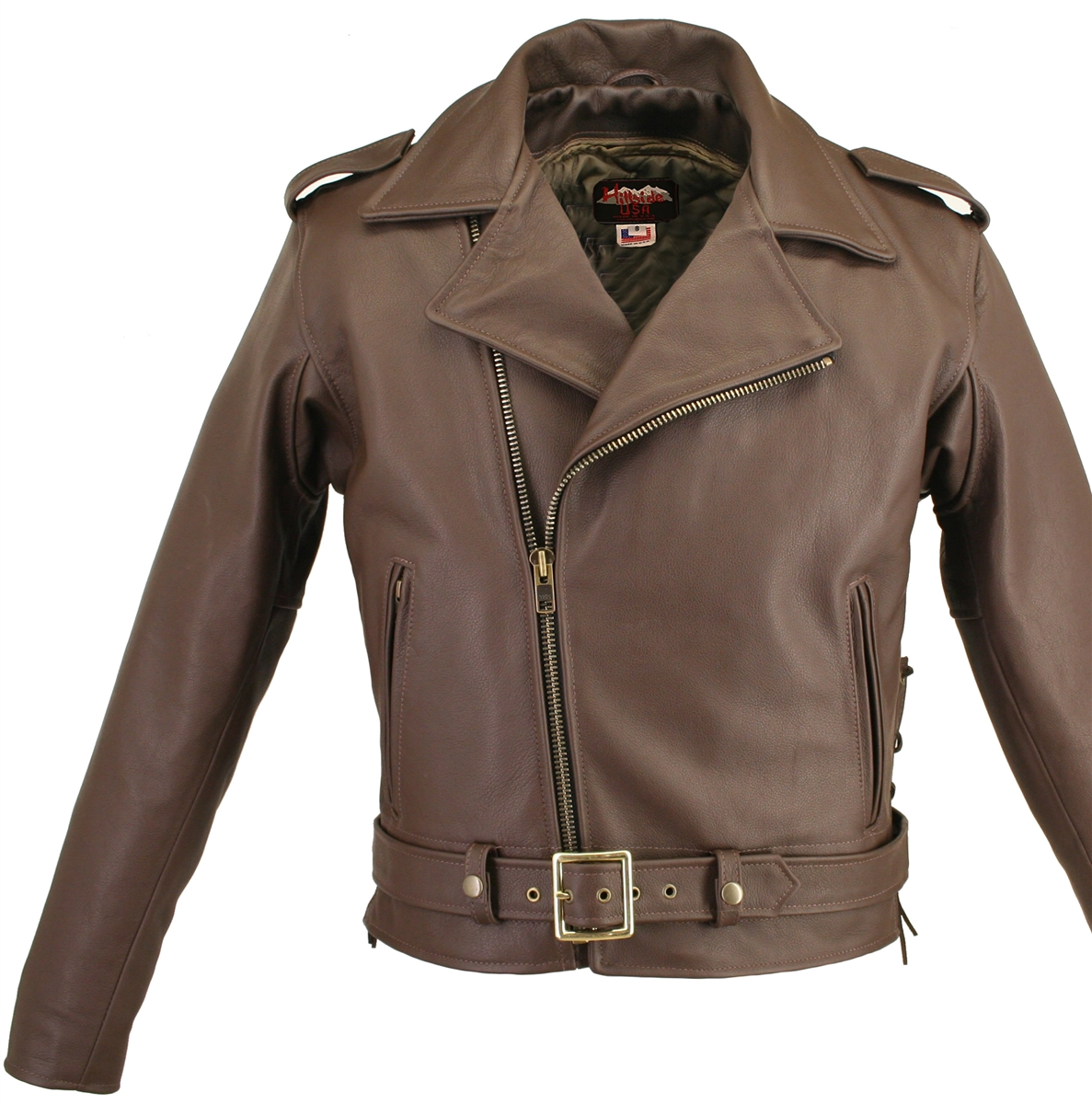 Men's Full Belted Brown Leather Biker Jacket. QUALITY construction ...INSIDE OUT! Well thought-out design with new and innovative features 1.6-1.8 mm (4-4 1/2 oz.) soft, supple, and Thick Brown Cowhide Naked Leather and the craftsmanship that only Hillsid