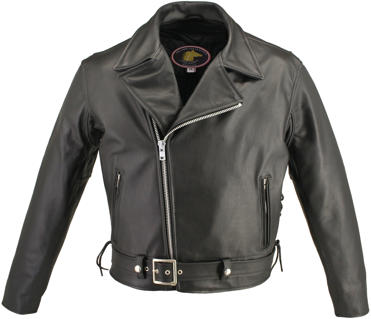 Men's Full Belted Horsehide M/C Jacket. A remarkable classic in Genuine Horsehide with every original detail. Horsehide has many unique properties, it is immensely strong and durable even in the extreme conditions, unlike other hides, and horsehide is nat
