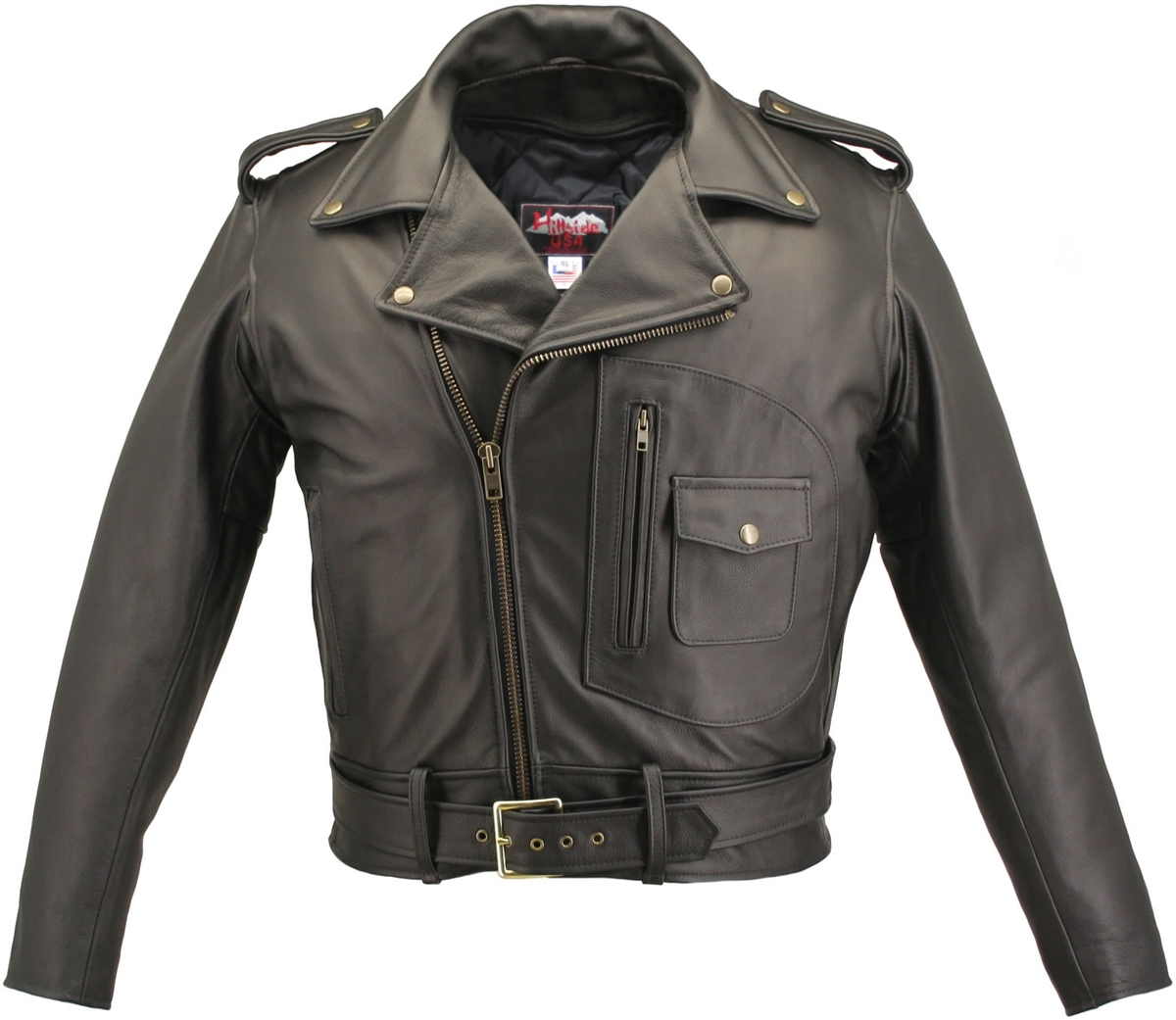 Our D Pocket Motorcycle Jacket Black is one of a kind jacket that, once you've worn it, you can't imagine how you ever got along without it. This jacket build from 4-4 1/2 ounce Soft Premium Cowhide Naked Leather carefully selected , specially tanned , pr