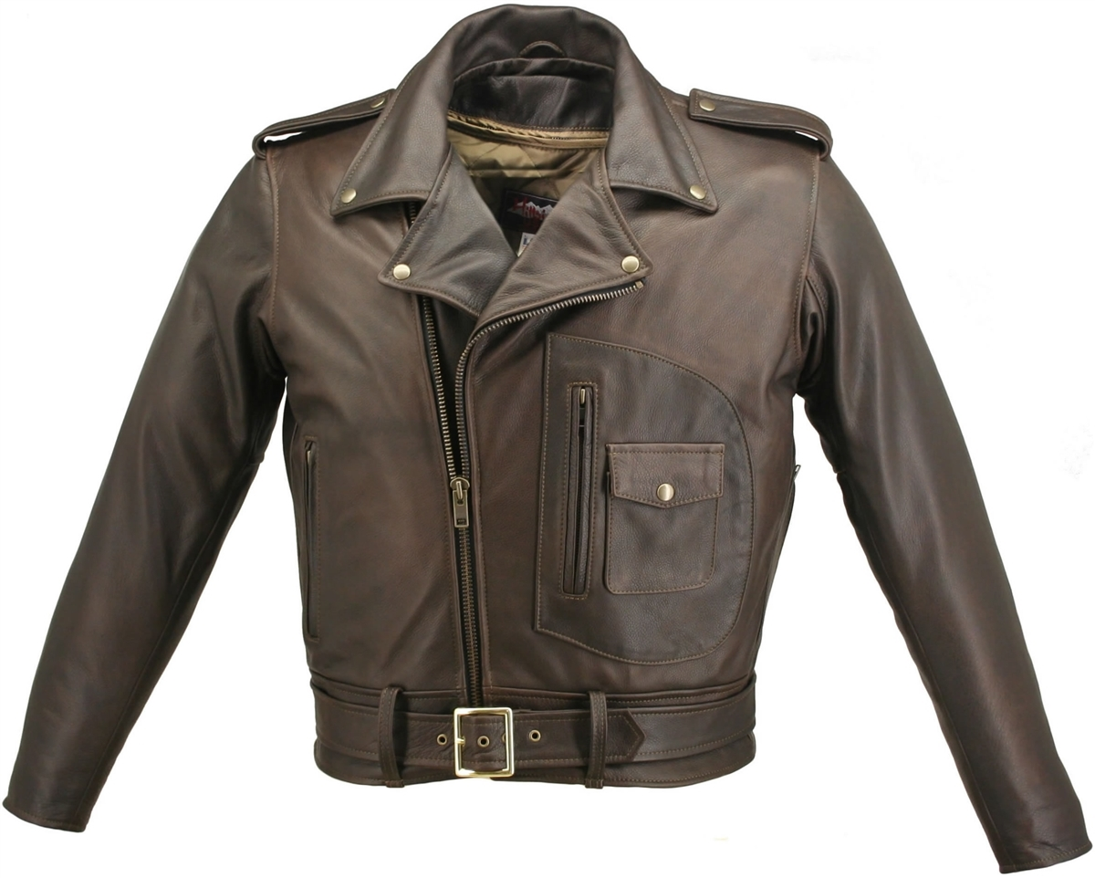 Our D Pocket Motorcycle Jacket Distressed Brown is one of a kind jacket that, once you've worn it, you can't imagine how you ever got along without it. This jacket is build from 3-3 1/2 oz. Soft Premium Distressed Cowhide Naked Leather, carefully selected
