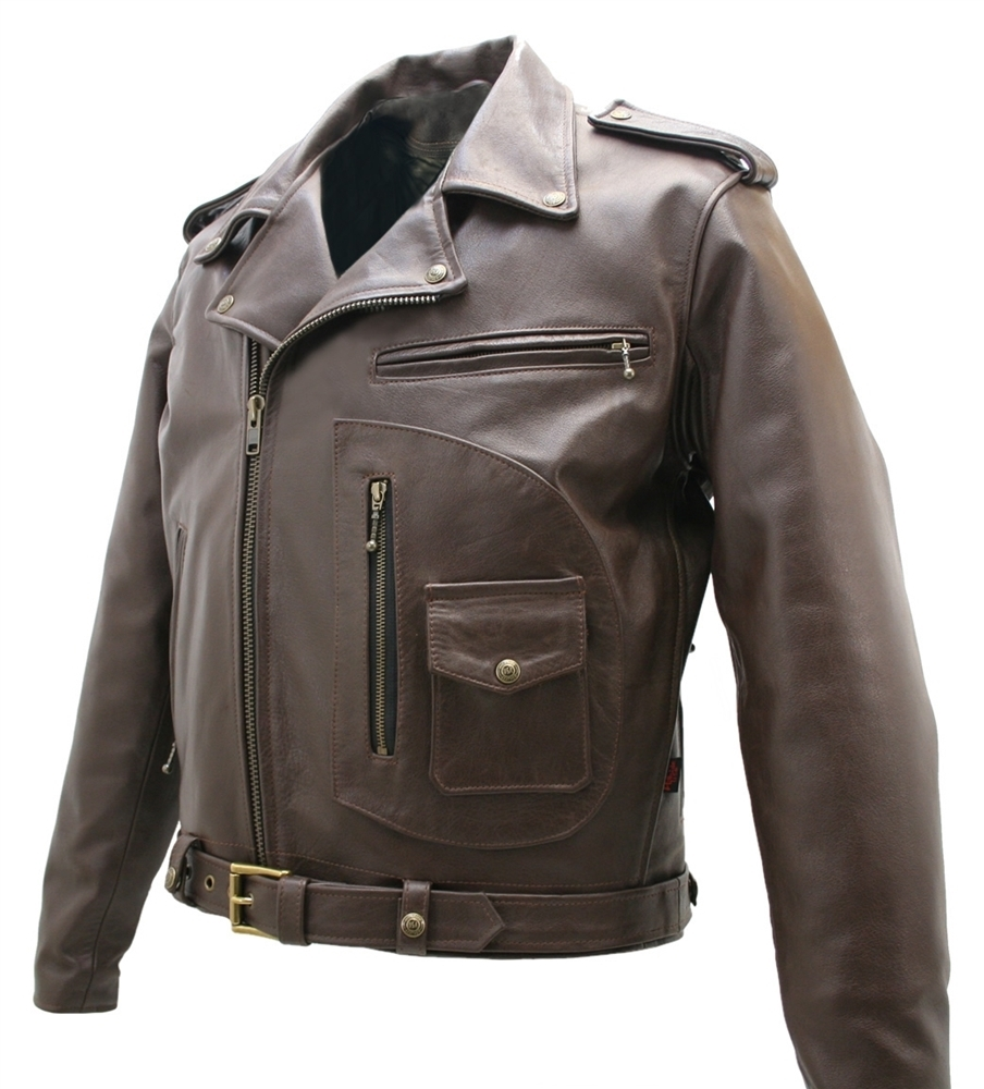 Brown D Pocket Horsehide Motorcycle Jacket By Hillside Usa