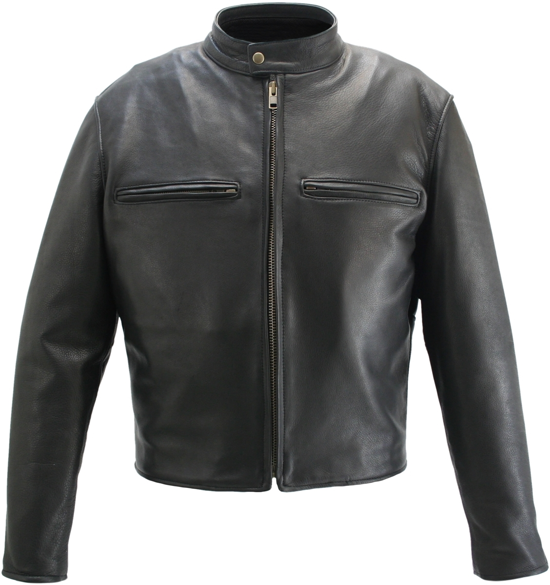 Cafe Racer tough on the road and off. Polytwill lining, zippered sleeves, dual chest Leather Lined pockets. Constructed with1.6-1.8 mm (4-41/2 oz) Soft, Supple, and Thick Cowhide Naked Leather and the craftsmanship that only Hillside USA can offer. Remova