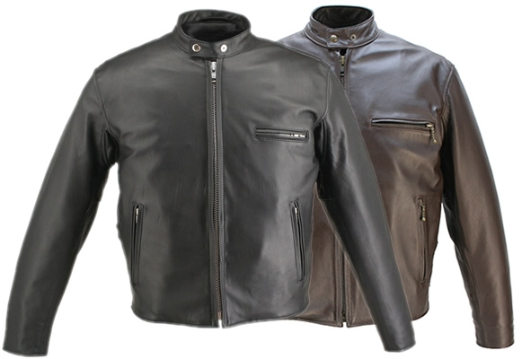 Born out of the leather bike jackets of the 50's and 60's the Cafe Racer Collection is manufactured from old style chromed tanned Front Quarter Horsehide. Unlike weaker hides, genuine Chrome-Tanned Heavyweight Horsehide never loses strength as it softens