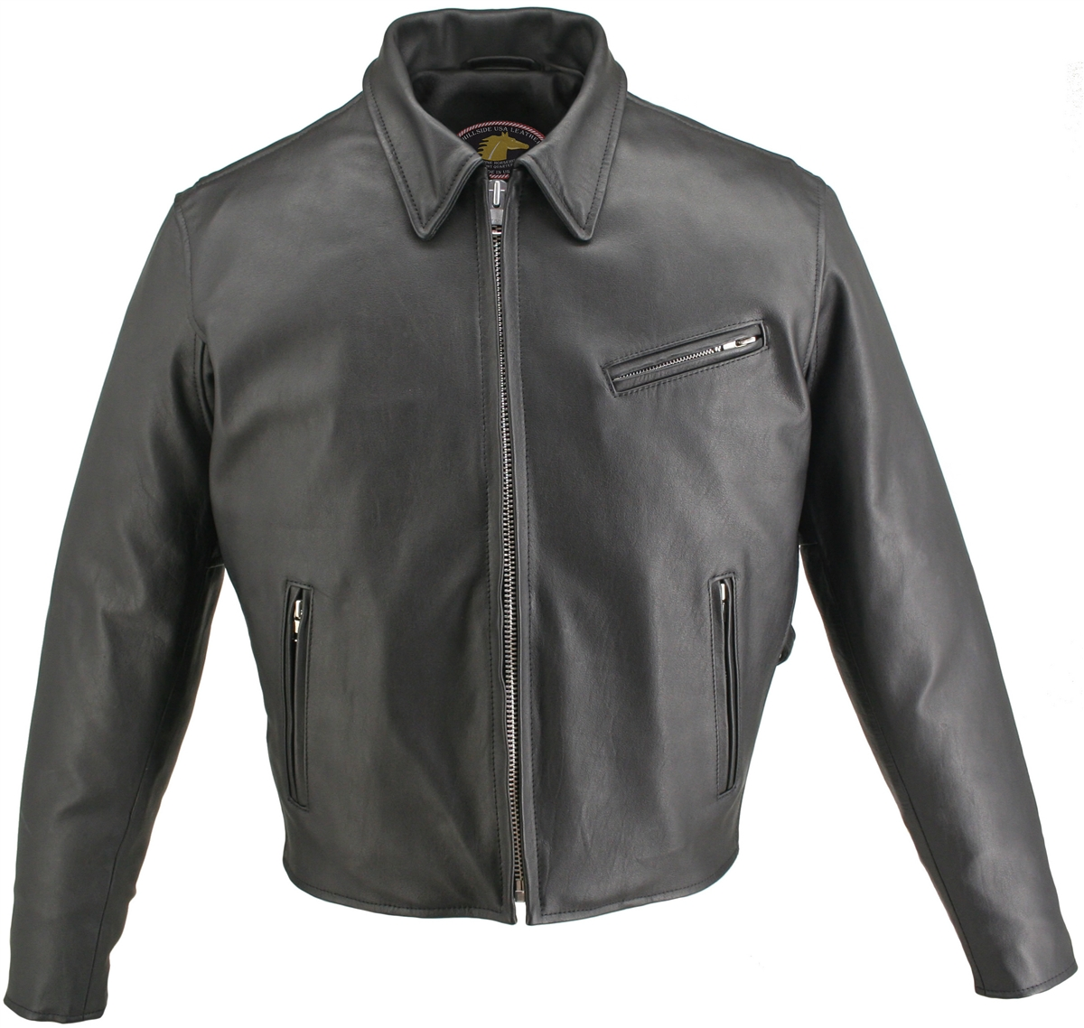 Men's Horsehide Racer Snap Down Collar. With hand stitched by the experts who loves and appreciates 100% US made Products we produce this superb item, crafted with 1.2-1.4mm Genuine Front Quarter Horsehide. Snap-down shirt collar, removable Full Sleeve Th
