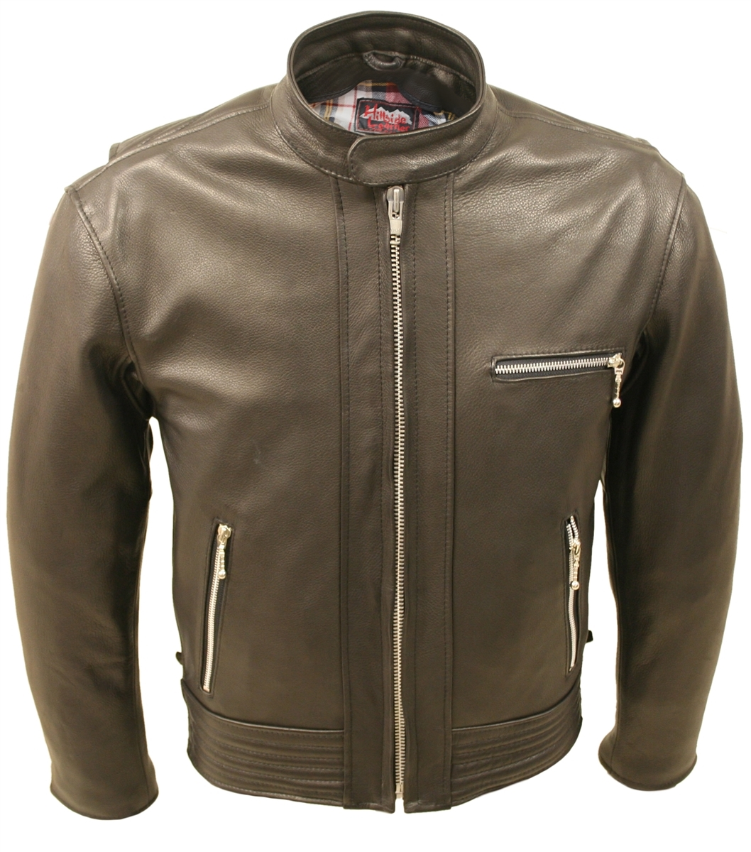 Hillside USA Padded Racer Jacket (Black)   Introducing a new casual leather jacket that combines distinct design and timeless style with Hillside USA Leather's commitment to quality craftsmanship.