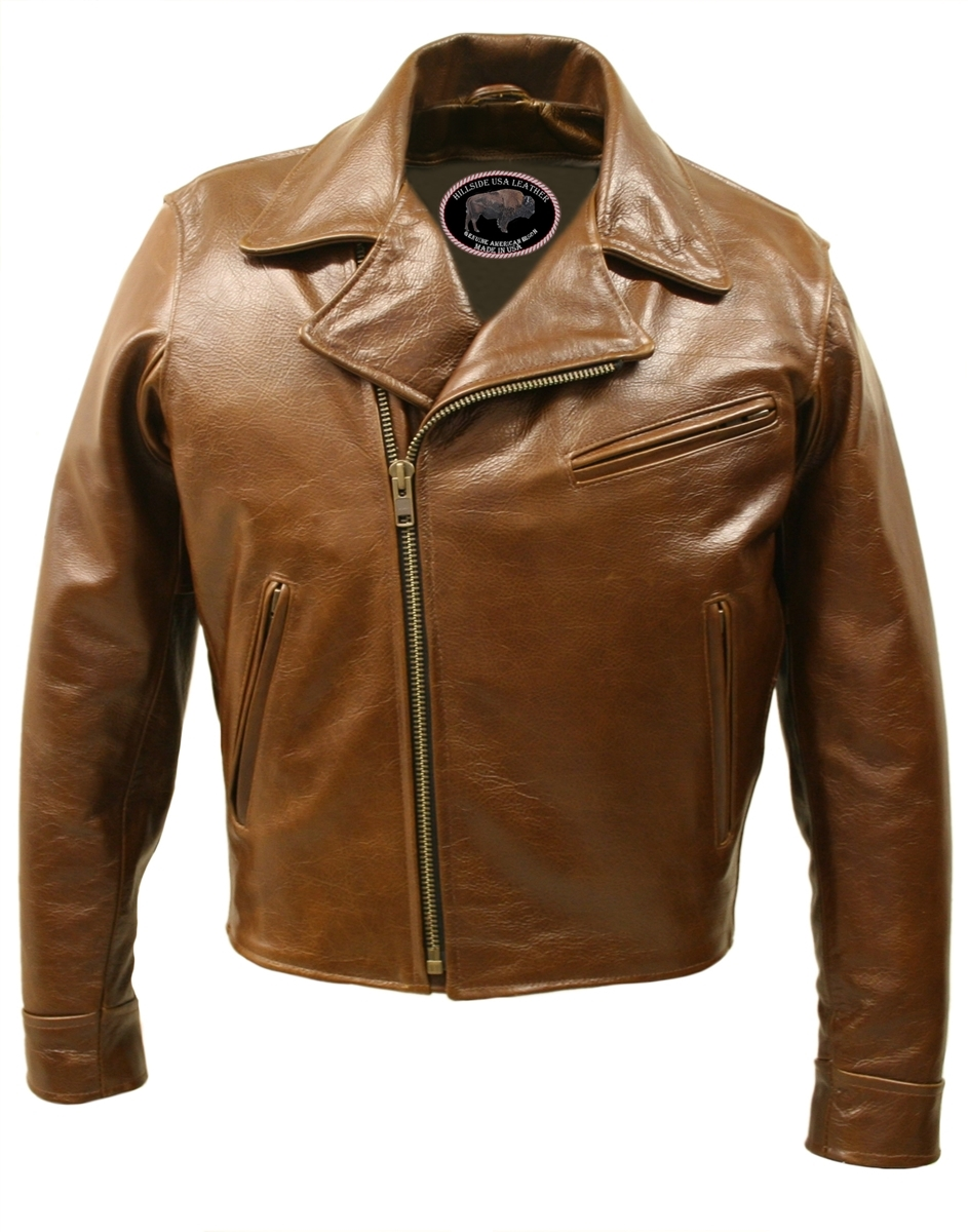Half Belt Classic Biker Bison Jacket (Brown) constructed from a truly distinctive  1.4 1.6mm pull up American Bison Brown allowing maximum comfort and protection.  Hillside USA takes great care in crafting the best products possible, so we proudly offer