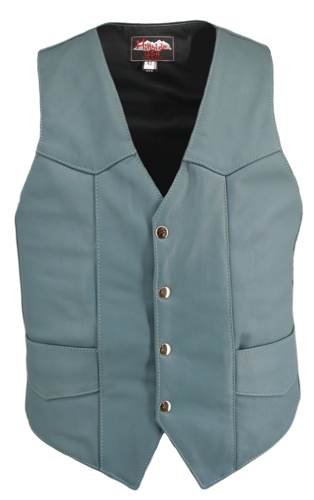 Men's Basic Biker Vest. There's is nothing basic about this vest, updated in 1.0-1.2 mm (2?-3 oz) Top Grain Cowhide Baby Blue and with our standard features: Double sided leather interfacing, enables the vest to retain shape when carrying a concealed pist