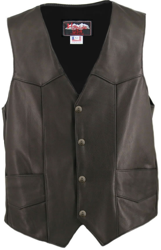 Men's Basic Biker Vest. There's is nothing basic about this vest, updated in 1.4-1.6 mm (3 1/2-4 oz.) Soft, Supple and thick Cowhide Naked Leather, and with our standard features: Double sided leather interfacing, enables the vest to retain shape when car