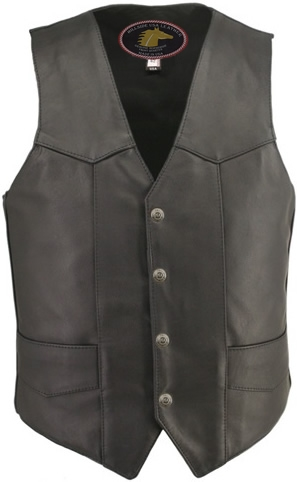 Men's Basic Biker Vest. There's is nothing basic about this vest, updated in 100% Front Quarter horsehide leather, and with our standard features: Double sided leather interfacing, enables the vest to retain shape when carrying a concealed pistol or any h