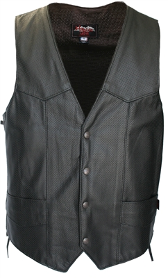 Full Perforated Biker Leather Vest