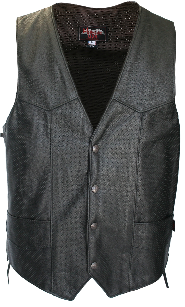 Men's Laced Side Full Perforated Biker Leather Vest