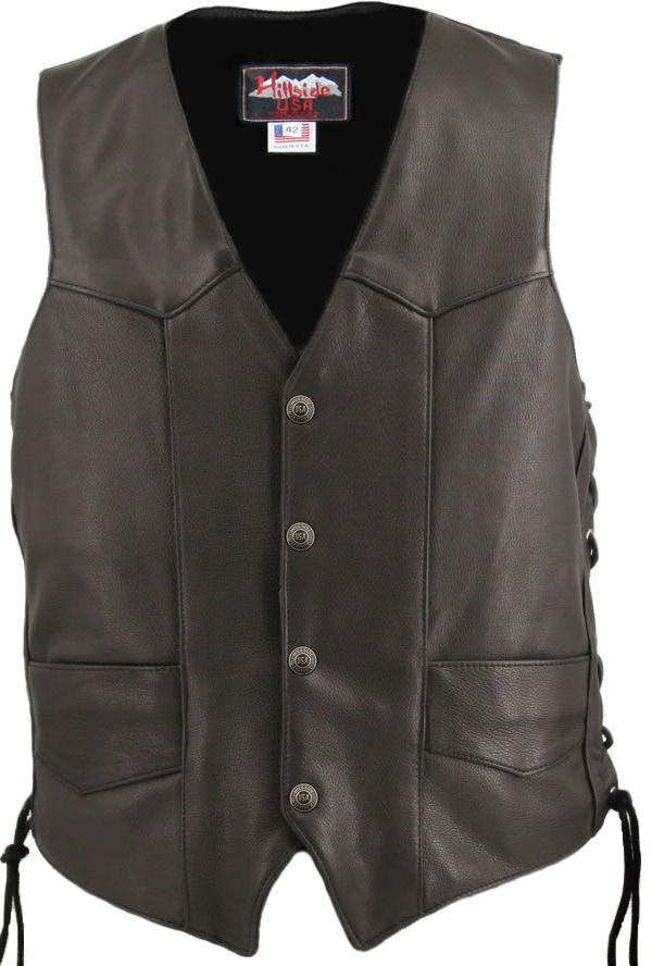 Men's Laced Side Basic Biker Vest. A supple, yet sturdy softness emanates from this vest, hand-crafted with 1.4-1.6 mm (3 1/2-4 oz.) Soft, Supple Cowhide Naked Leather, and with our standard features: Double sided leather interfacing, enables the vest to