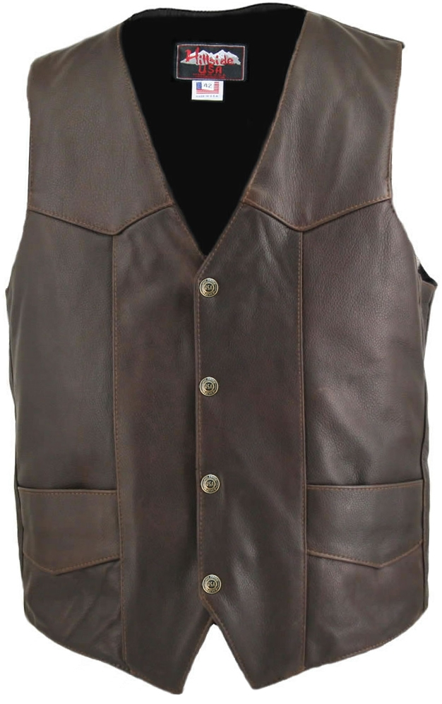 Distressed Brown Classic Biker Vest. A supple, yet sturdy softness emanates from this vest, hand-crafted with 1.2-1.4mm (3-3 1/2 oz) Soft, Supple Distressed  Leather, and with our standard features: Double sided leather interfacing, enables the vest to re