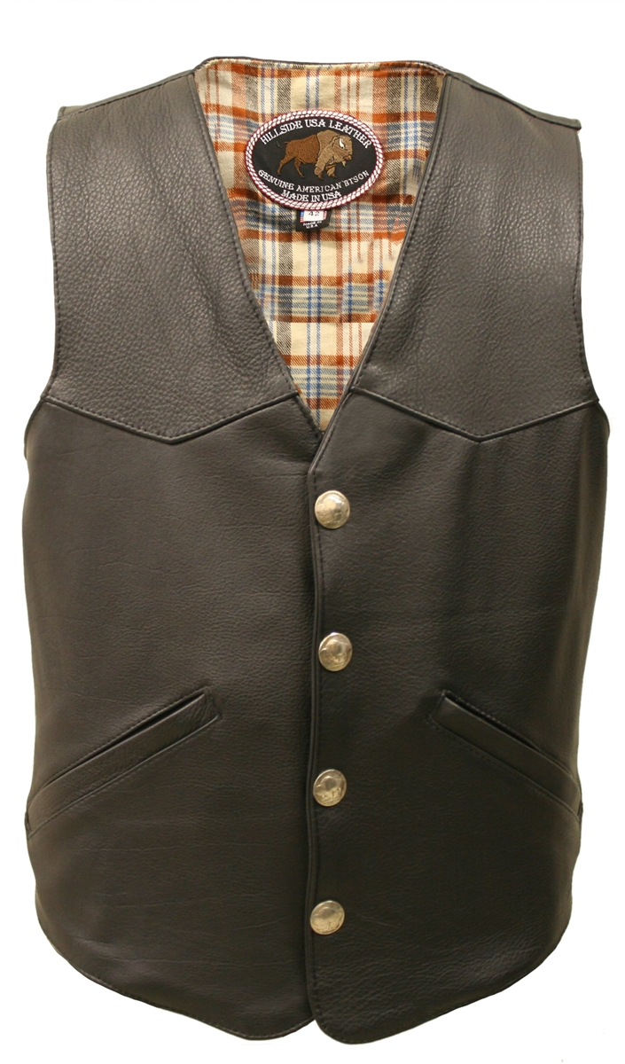 This is a special version of our best seller ?The Classic Vintage Leather Vest?. It is made in the USA with our exclusive Bison leather, Lined with 100% soft cotton plaid flannel for all-day comfort. This Vest has been well designed to be beautiful and fu