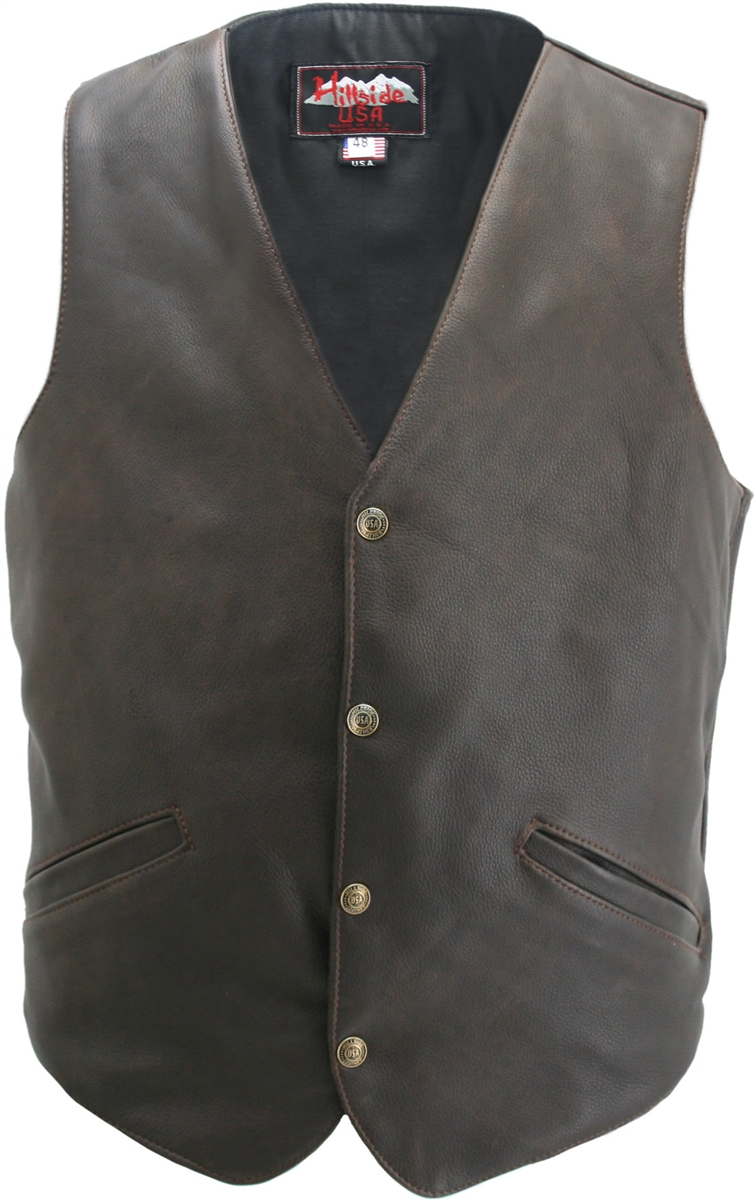 This classic vest has all the subtle styling of the period. Crafted with 100% distressed brown cowhide and 100% brown nylon lining. For comfort and convenience, two front pockets are provided. Four antique brass snaps fasten up the front and a single back