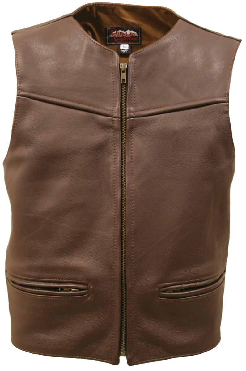 The Zipper Racer Vest Brown, comfort, quality and style that molds to your body, completely different. From top to bottom, the artistically elegant design will demand the attention of all. Features rounded neckline, large panel back easy to add patches or