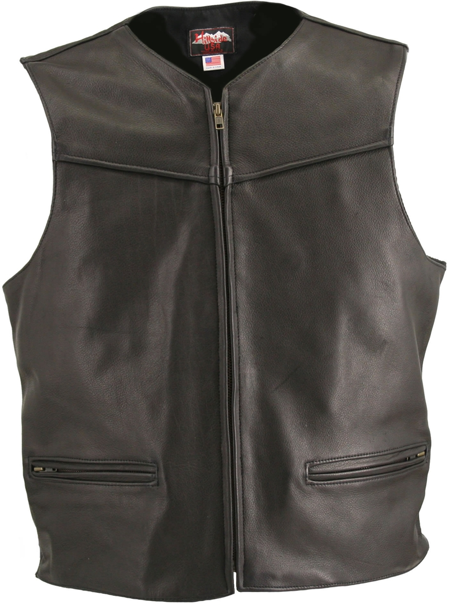 The Zippered Racer Vest, Comfort, quality and style that molds to you body, completely different. From top to bottom, the artistically elegant design will demand the attention of all. Features rounded neckline, large panel back easy to add patches or cust