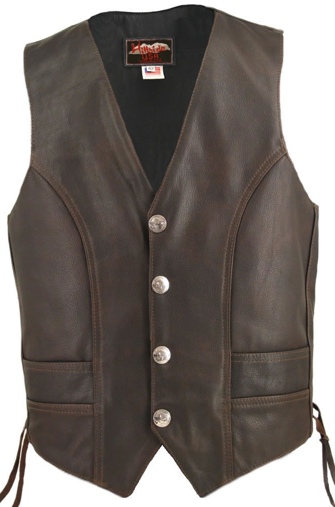 Men's Distressed Brown Genuine Buffalo Nickel Vest. Perfect leather, perfect style. With double stitching pattern that can only be done by hand. The Distressed Buffalo Nickel shows what perfect taste you have. 1.2-1.4mm (3-3 1/2 oz) Soft, Supple Distresse