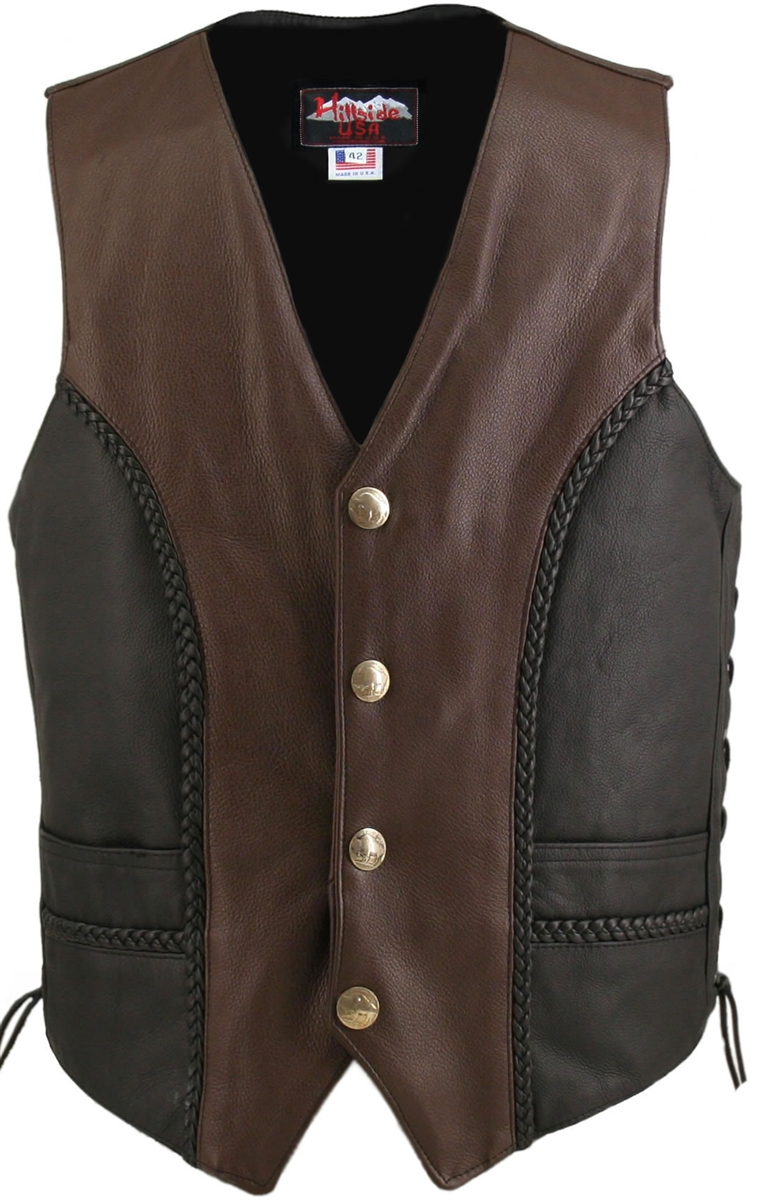 Men's Braided Black-Brown and Genuine Bison Nickel Biker Leather Vest. Two Tone (Black & Brown) The soft and supple naked leather used to craft this vest is what makes an already exceptional vest, top of the line. A combination of black and brown along wi