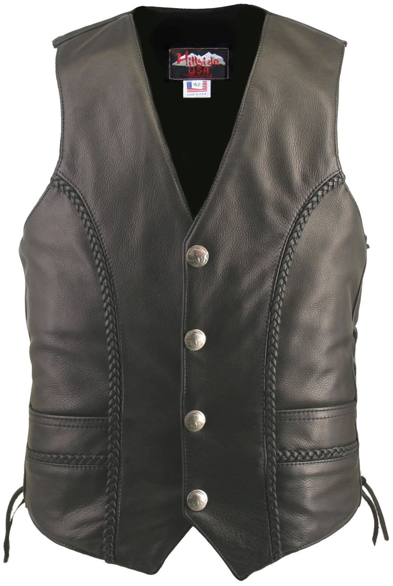 Men's Braided Leather Biker Vest / Genuine Buffalo Nickel Vest. Well thought-out design with new and innovative features, Crafted with 1.4-1.6 mm (3 1/2-4 oz) Soft, Supple and thick Cowhide Naked Leather, leather braiding front and back, Two leather-lined