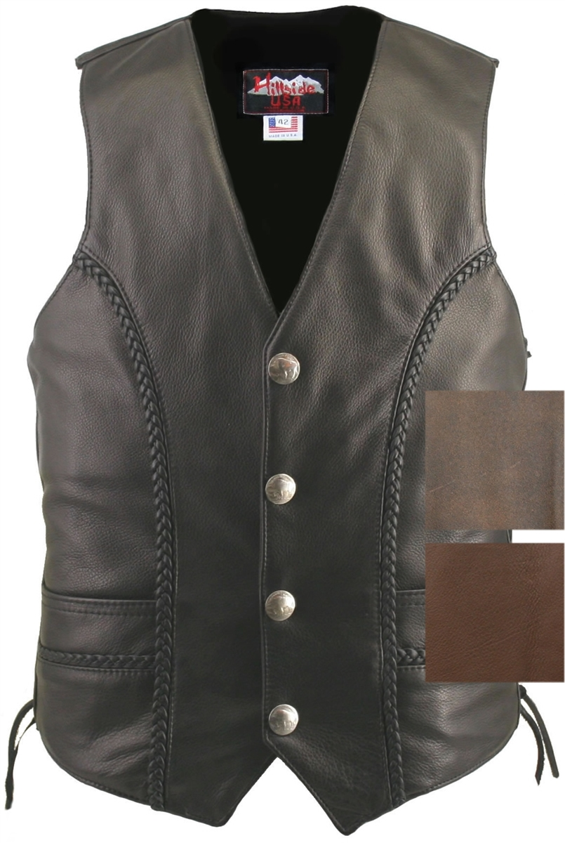 Men's Braided Leather Biker Vest / Genuine Bison Nickel Vest. Well thought-out design with new and innovative features, Crafted with 1.4-1.6 mm (3 1/2-4 oz) Soft, Supple and thick Cowhide Naked Leather, leather braiding front and back, Two leather-lined f