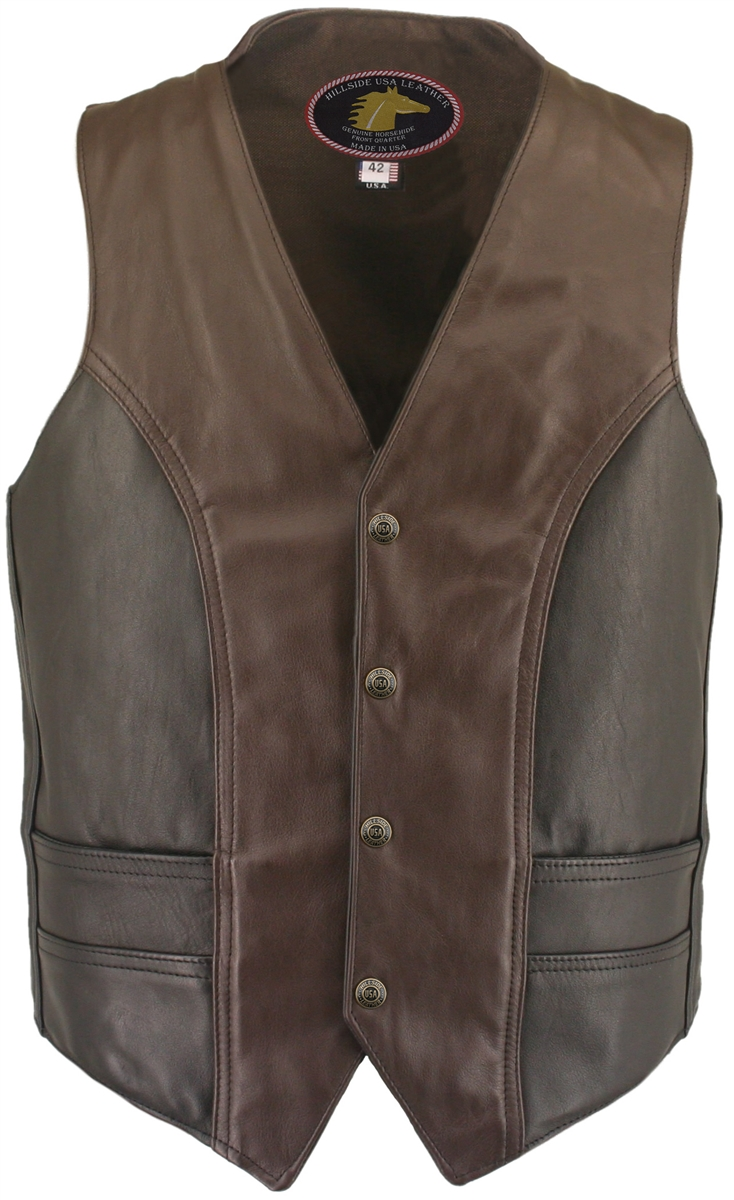 The Horsehide Biker Vest Two Tone invites you to have the ride of your life-for a lifetime-upon its 100% front quarter horsehide leather. Handmade and stitched in the USA represents the best that motorcycle apparel industry can offer. (1.2-1.4mm) front qu