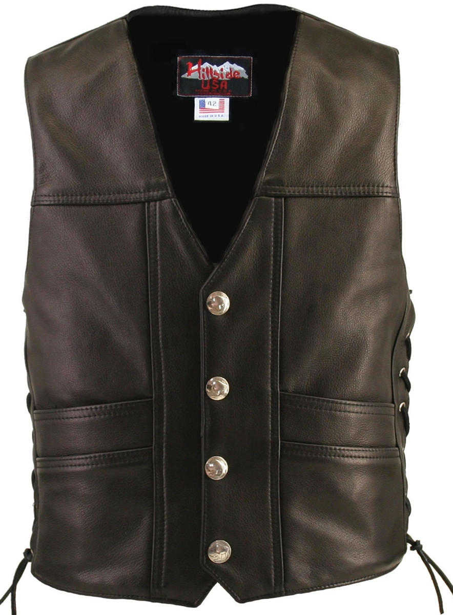 Busting at the seams with style, class and intricate detailing invite all to wear The Cruiser Vest. This sophisticated design provides comfort and protection at the same time with 1.4-1.6 mm (3 1/2-4 oz) Soft, Supple and thick Cowhide Naked Leather. Doubl