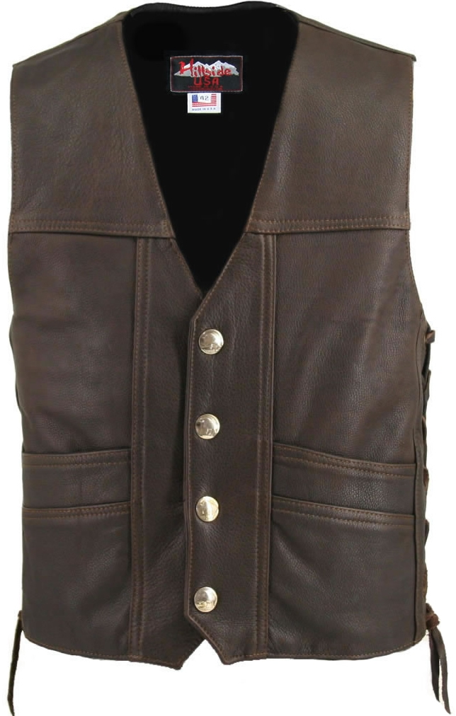 Busting at the seams with style, class and intricate detailing invite all to wear The Cruiser Vest. This sophisticated design provides comfort and protection at the same time with 1.2 -1.4mm (3-3 1/2 oz.) Soft, Supple distress brown Naked Leather. Double
