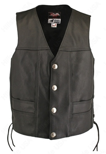 Men's Ultimate Horsehide Biker Vest. Beautiful styling, meticulous workmanship , excellent fit, well thought-out design with new and innovative features; (2 -2 1/2 oz)  Front quarter genuine horsehide leather. Double sided leather interfacing, enables the