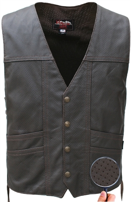 Full Perforated Cruiser Biker Vest Brown