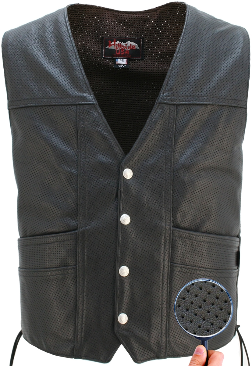 The Full Perforated Cruiser Vest provides comfort and protection at the same time maximum cooling during warm weather months. Double sided leather interfacing.,two leather-lined front pockets (approx.6''deep) and two inside leather lined pistol pockets (a