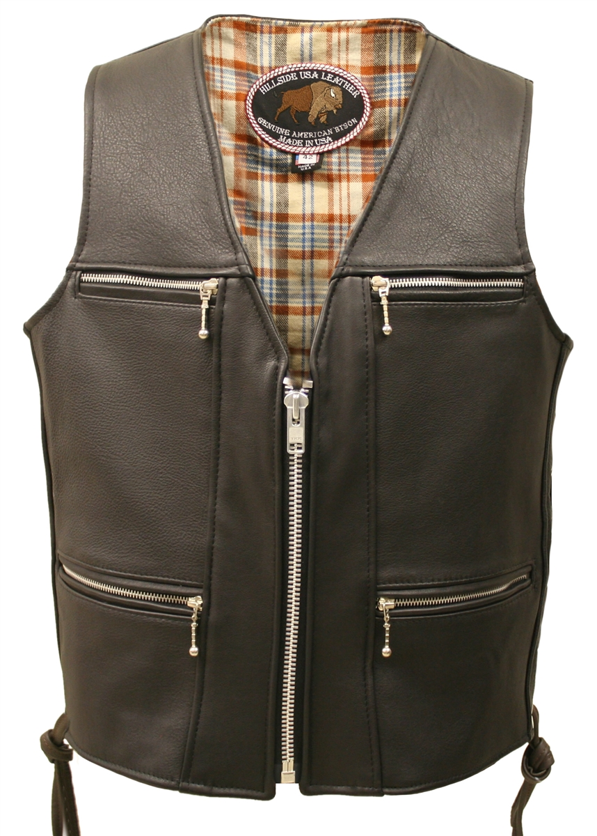 Touring American Bison Leather Vest.