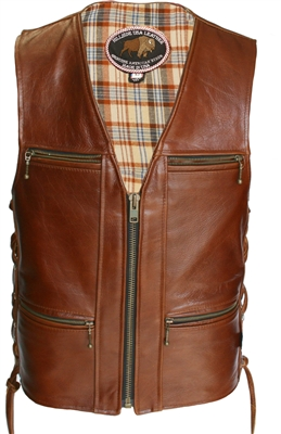 Touring American Bison Brown Leather Vest