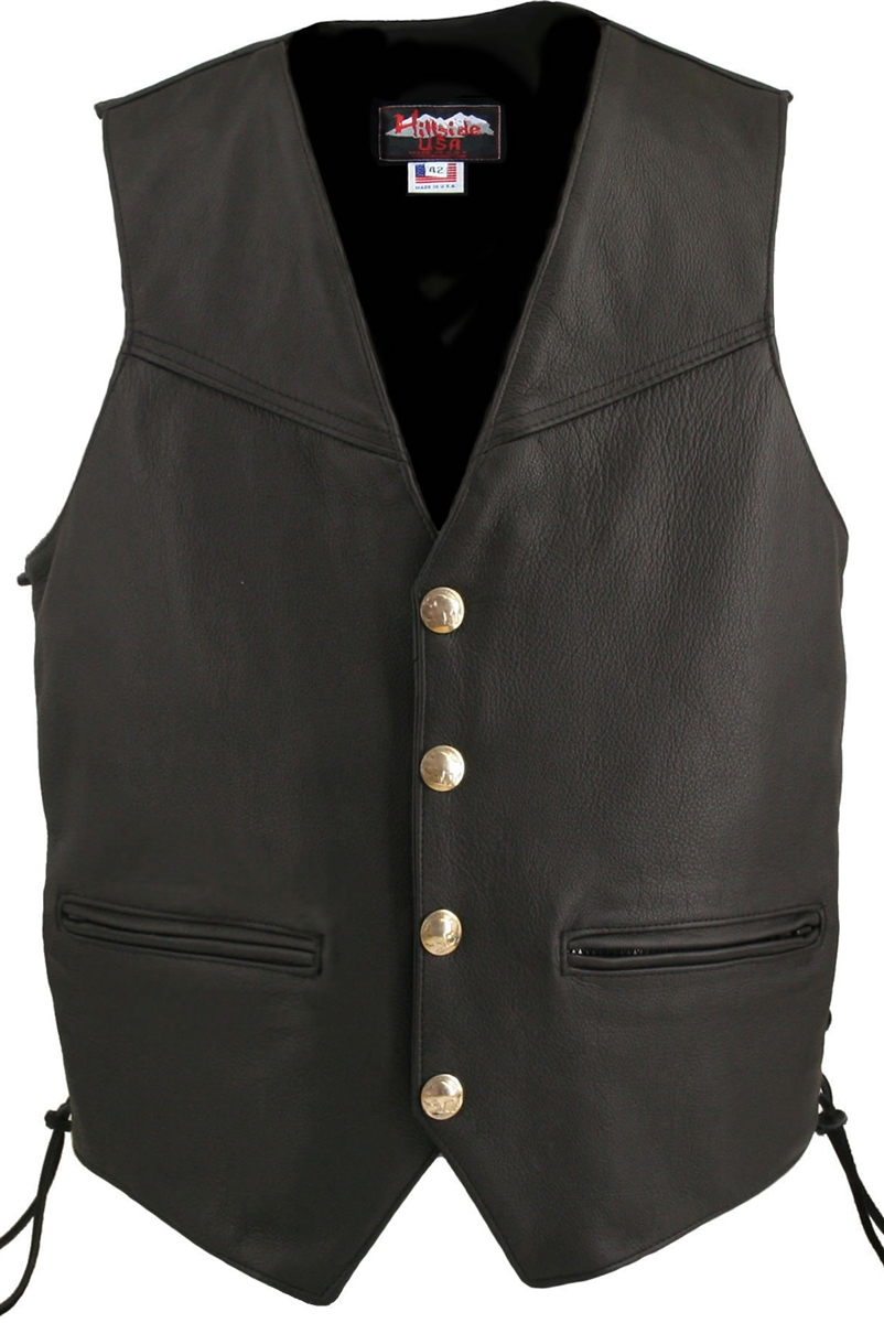 Pioneering trends in apparel, Hillside USA is proud to introduce the Men's Defiance Biker Vest. Classic high end looks combined with great comfort and value. Utilizing the latest manufacturing techniques, The Men's Defiance vest has all of the hallmarks o