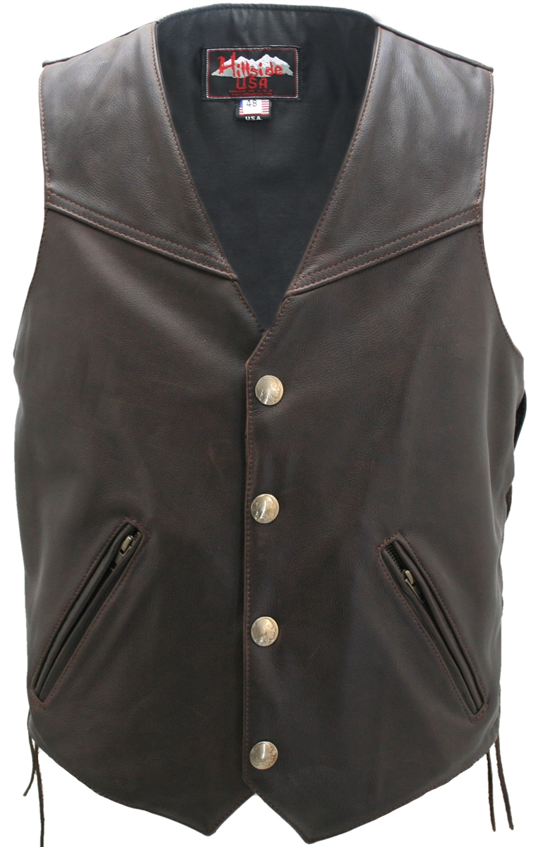 The Solid Back Distressed Brown Vest invites you to have the ride of your life-for a lifetime. Hand made and stitched in the USA represents the best that motorcycle apparel industry can offer. Double sided leather interfacing, enables the vest to retain s