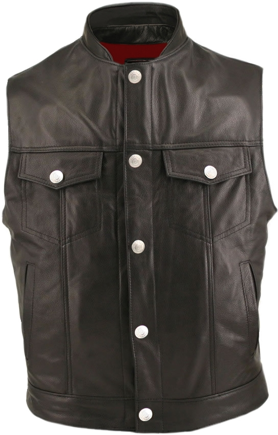 Men's Denim Style Stand Up Collar Vest. Tough looks in a comfortable vest, will protect you from the elements (including asphalt), the leather is superb in texture, thickness, and craftsmanship, 1.4-1.6mm (3 1/2- 4oz.) Soft, Supple Cowhide Naked Leather,