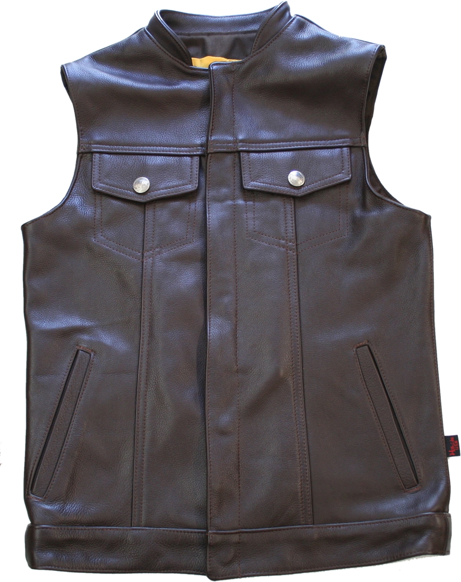 Men's Denim Style Stand Up Collar Vest. Tough looks in a comfortable vest, will protect you from the elements (including asphalt), the leather is superb in texture, thickness, and craftsmanship, 1.4-1.6mm (3 1/2- 4oz.) Soft, Supple Cowhide Naked Leather.