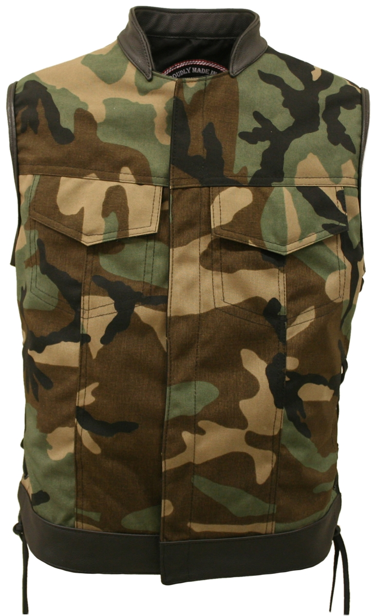 SOA Style Side Lace (Cordura - Military grade fabric) woodland camo vest. Heavy-weight ballistic nylon(Cordura). Stand up collar & hidden front snap closure. Tough looks in a comfortable vest. Created after the vests on the popular TV show, Sons of Anarch