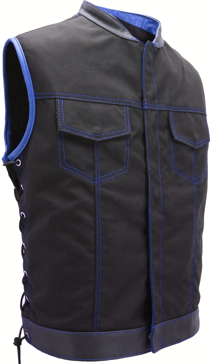 Heavy-weight ballistic nylon(Cordura). Stand up collar & hidden front snap closure. Tough looks in a comfortable vest. Created after the vests on the popular TV show, Sons of Anarchy, seen on FX network.  Undeniably riding gear, Excellent fit, you'll wear