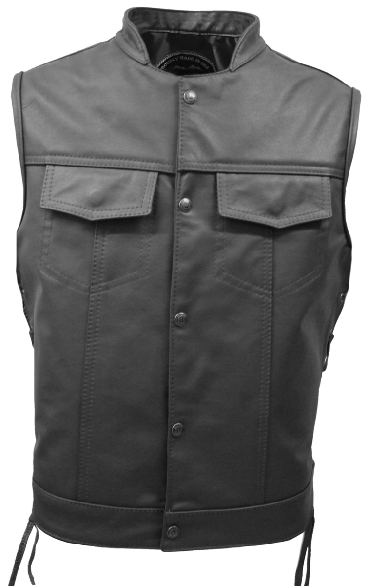 This motorcycle vest combines toughness and comfort. It has been created after the motorcycle vests from the popular TV show ?Sons of Anarchy?  This leather motorcycle vest is crafted from supple, 1.1-1.2mm weight top grain cowhide leather and lined with