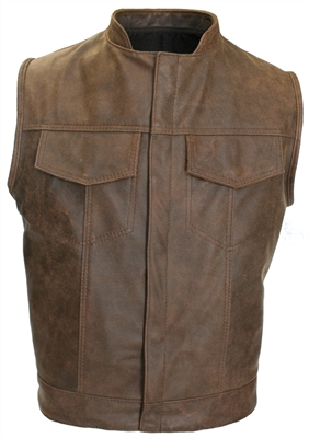 Brown Vintage SOA Biker Cut Concealed Snap w/ Hidden Zipper w/ 2 Inside Gun Pockets