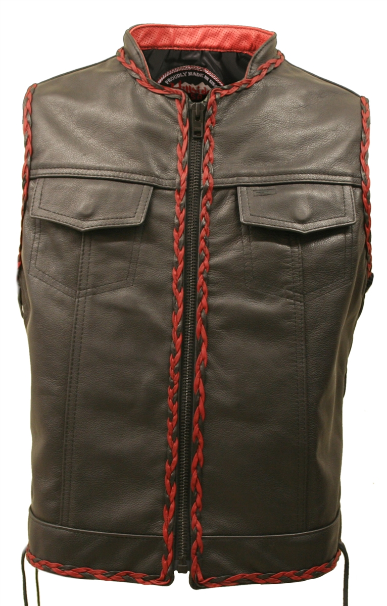 SOA style side lace all leather vest; Crafted from 1.0-1.2 mm (2?-3 oz) top grain cowhide with a h eavy duty YKK front zipper (Metal #10) and  Perma Core thread by A&E for strong stitching. Also available with t wo leather lined Gun pockets (approx. 9