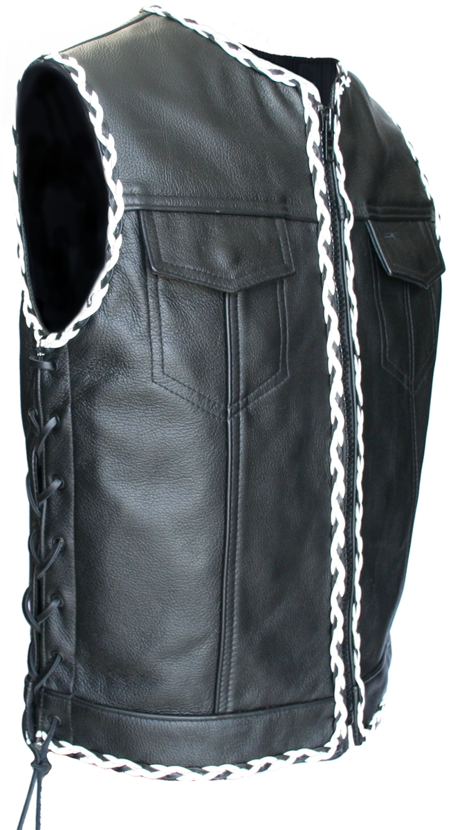 Black And White Braided Biker Leather Vest