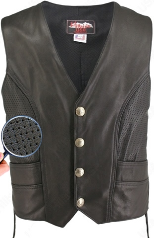 Men's Semi-Perforated Biker Vest. With hand stitched by the experts who loves and appreciates 100% US made products. We produce this superb item; designed to fit properly the Perforated Genuine Bison Nickel vest will exceed your expectations. Perforated l